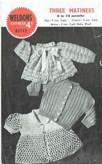 7878ca87b9ee94 Weldons 1112 baby matinee coat cardigan vintage knitting pattern