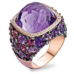 Tirisi Jewelry ~ Doha 18k rose gold ring with amethyst and diamonds