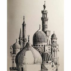 Great #architecture #sketchbook #penandink #drawing by @markpoulierart of the #CityoftheDead in #Cairo #Egypt. The #geometry and #shape of those #buildings is so cool and Mark captured them so well in his #sketch #illustration. The lines #arches and #domes as well as the #shading and #textures are so well done. Really nice work Mark!  #ArchitectureAirship