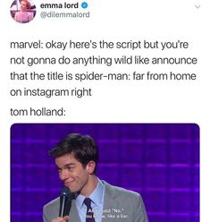 I just don't want Tom Holland to get fired on ban from Marvel so I hope his spoilers don't get him in too much trouble. Funny Marvel Memes, Dc Memes, Marvel Jokes, Avengers Memes, Marvel Avengers, Marvel Dc Comics, Deadpool Funny, Marvel Universe, Fandoms