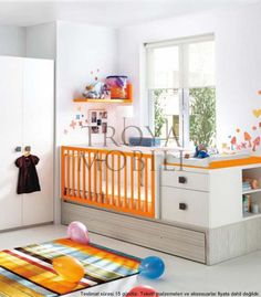 White Decoration Painting Modern Nursery Room with Minimalist Orange Wall Shelf and Corner Crib Design also Colorful Vertical Pattern Rug for Adorable Decoration Painting of the Baby Nursery Room Designs Baby Bedroom, Nursery Room, Boy Room, Nursery Ideas, Nursery Decor, Nursery Grey, Bedroom Ideas, Bright Nursery, Bedroom Decor