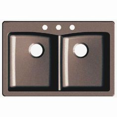 Glacier Bay Dual Mount Granite Composite 33 in. 3-Hole Double Bowl Kitchen Sink in Espresso-441106 - The Home Depot