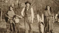Quanah Parker and two of his wives.