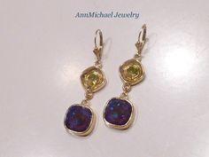 Swarovski Ultra Purple Green Crystal Earrings by AnnMichaelJewelry