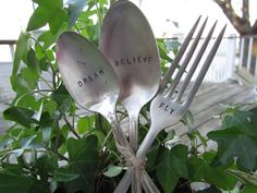 "Set of three garden markers - ""DREAM, BELIEVE, FLY"" hand-stamped vintage silverware great gift idea"