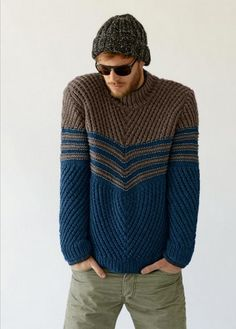 #735 Men's Sweater, Fall/Winter 13-14 (Bergere de France French knitting/crochet). Made in BDF Baltic.