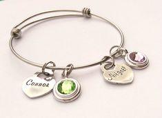 Personalised heart bracelet - birthstone bracelet - personalized charm bracelet - mum mom personalised present gift - birthday gift present by EmsStampedJewellery on Etsy