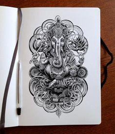 Tatto Ganesha, Ganesha Drawing, Shiva Tattoo, Ganesha Art, Buddhism Tattoo, Ganesha Tattoo Sleeve, Ganesha Sketch, Shri Ganesh, Lord Ganesha