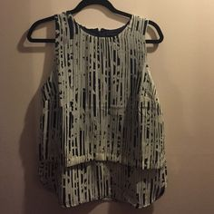 Banana Republic tank. Great for work! Blue and white print polyester tank. Zip back. Banana Republic Tops Tank Tops