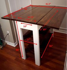 DIY Kitchen Island Dimensions – Home Decor - Kitchen - Best Kitchen Decor! Drop Leaf Kitchen Island, Kitchen Island Table, Kitchen Island With Seating, Kitchen Island For Small Kitchen, Kitchen Counter Diy, Kitchen Counters, Kitchen Storage, Kitchen Furniture, Diy Furniture