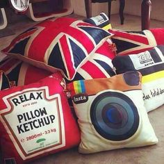 UK AND INSTAGRAM PILLOWS. I need a Tumblr, Twitter, Facebook, Youtube, US Flag, and Scottish flag pillow too.