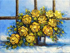 The vase with yellow roses, the original paintwork handmade in the knife Knife Art, Yellow Roses, Impressionism, Art Gallery, Vase, Handmade, Painting, Ebay, Hand Made