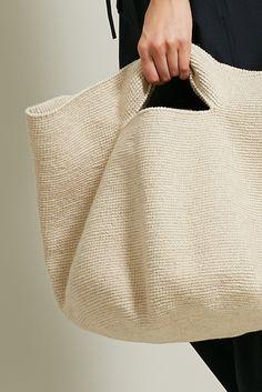 Lauren Manoogian Crochet Bowl Bag in Crudo Crochet Slouchy Hat, Slouch Hats, Knitting Stitches, Knitting Machine, Loom Knitting, Crochet Bowl, Recycled Denim, Crochet Handbags, Fabric Bags