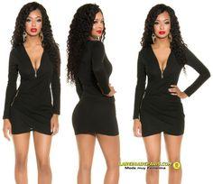 102217a172 Comprar Vestido negro entallado escote en V online Vestidos ajustados cortos