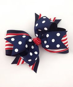 Navy & White Polka Dot Bow Clip