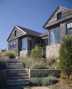 Coastal, rustic, modern; Hutker Architects . modern use of cedar shake . symmetry .