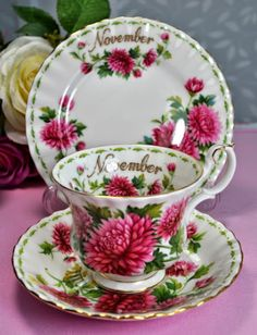 ~ Royal Albert Flower Of The Month Series November Teacup Trio c.1970's ...