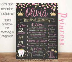 Primer cumpleaños pizarra cartel color de por AmandaReneDesigns