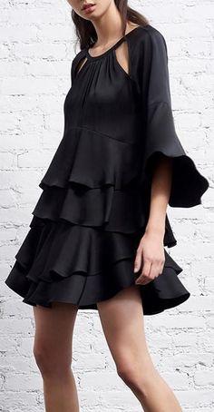 'Emmeline' Ruffle Dress, Black