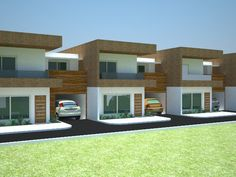 projeto com fachada super contemporânea para casas geminadas, usando madeira e pedra no revestimento Townhouse Exterior, Modern Townhouse, Townhouse Designs, Home Building Design, Building A House, Habitat Groupé, Narrow House Designs, Model House Plan, Architectural House Plans