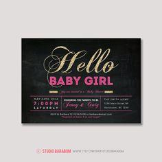 Girl Baby Shower Invitation  Glitter gold baby by StudioBaraBom