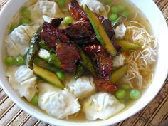 Wonton and char siu pork noodle soup {made with Trader Joe's Char Siu pork and chicken & cilantro mini wontons}
