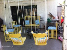 Made some swings out of old dining chairs and the bench out of a crib.