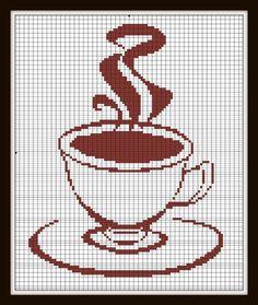 Cross Stitch Pattern tea Coffee pattern Silhouette Handmade pdf via Etsy