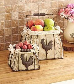 Rooster kitchen decor. Shabby chic rooster baskets.
