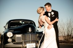 Bride and Groom and the old fashion car. Winter Wedding. www.remvp.com
