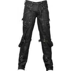 Black denim men's pants by gothic clothing brand Queen of Darkness, with long bondage straps and metal rivets and eyelet detail.