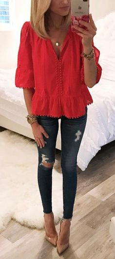 #summer #outfits Red Top + Ripped Skinny Jeans + Nude Pumps