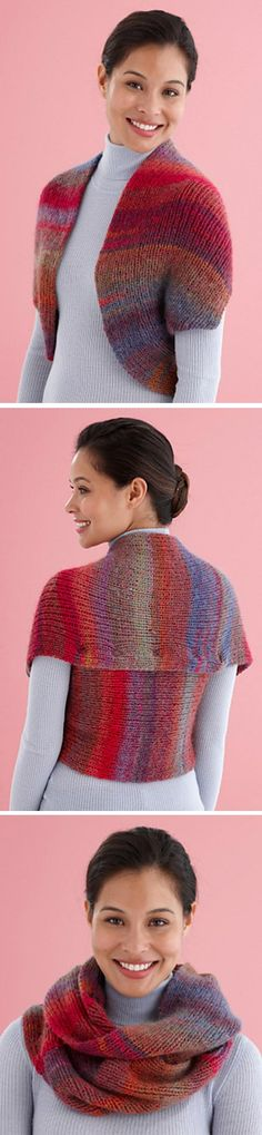 Free knitting pattern for Snapped Convertible Cowl / Shrug - Lion Brand Yarn's accessory transforms with strategically placed snaps. Knit as a single rectangle, just seam and add snaps to get multiple options. Unsnapped it becomes a cowl. Snapping all the snaps creates arm holes for a shrug.