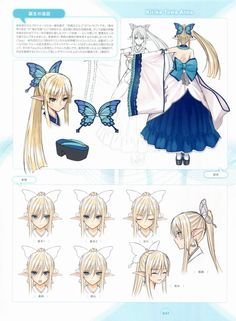 1girl bare_shoulders blonde_hair blue_eyes breasts butterfly_hair_ornament cleavage closed_eyes concept_art detached_collar detached_sleeves earrings elf expressions hair_ornament happy highres japanese_clothes jewelry kirika_towa_alma long_dress long_hair long_legs open_mouth pointy_ears ponytail ribbon sandals serious shining_(series) shining_resonance smile tanaka_takayuki thigh-highs turnaround zettai_ryouiki