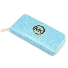 Michael Kors Snake Embossed Large Blue Wallets