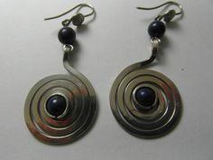 "Spiralohrringe ""espiral de la vida""Obsidian von LaSombrilla auf DaWanda.com"