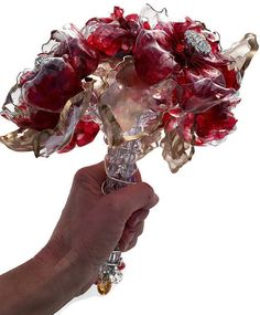 Unique Wedding Bouquet Garnet Red Jeweled Brooch  by ArtePlastique