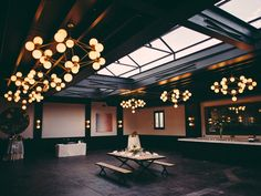 NYC Wedding Venue: A skylight the length of a ballroom has guests seeing stars at 501 Union, a century-old, stone-and-steel wonder with the art deco lines of a Great Gatsby title card.