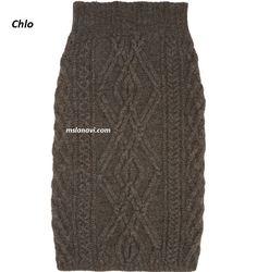 Вязаная юбка с аранами от Chlo - СХЕМЫ http://mslanavi.com/2016/12/vyazanaya-yubka-s-aranami-ot-chlo/