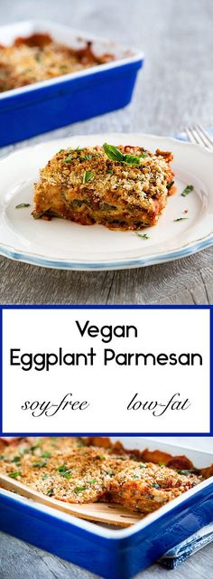 Lightly breaded eggplant is smothered between layers of vegan cheese sauce and tomato sauce in this soy-free vegan eggplant Parmesan.