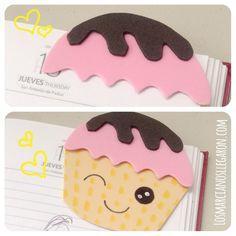 Dulces días: #Marcalibros con forma de #Cupcake en #Foami #EVAfoam #DIY