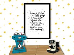 HANDLETTERING POEM HEART poster print//A2 (42 x 59.4 cm)//poem-text-handwritten-wall art-black and white