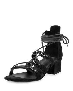 Saint Laurent Babies Suede Gladiator 40mm Sandal, Black