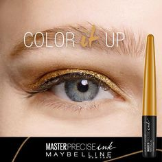 Up your cat eye eyeliner look from basic to bold by adding color! Maybelline's NEW Master Precise Ink Liquid Eyeliner has 7 metallic shades to choose from to create your classic cat eye and go bold by adding color.  Up to 24 hour wear and budgeproof.