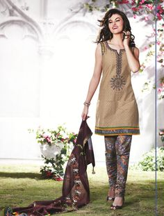 Beige Brown Cotton Salwar Kameez 15543 Pants would never go over my calves but cute nonetheless