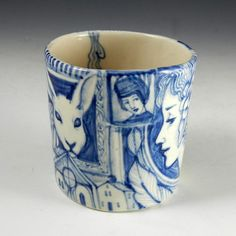 Large blue and white porcelain cup with rabbit and by PSPorcelain