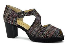 """My Mom had a pair similar to these back in the 1950s. Panama by Brunate. Gorgeous Spring vintage-like dress sandal from Brunate. Multi-colored printed leather upper, """"Z"""" shaped upper with buckle closure and peep toe opening. Leather lined footbed with shank support under arch. Stacked 2 and 1/2 inch heel with gradient coloring that compliments the upper and a 1 inch platform under the forefoot. Made in Italy."""