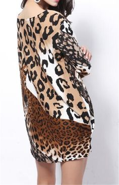 521ea1525e9e7 XiaoTianXinwomen clothes XTX Womens Mini Loose Curved Sexy Leopard Long  Sleeve Crewneck Dress Coffee Free Size     Want additional info  Click on  the image.