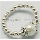 Fashion Glass Pearl Stretch Ring J-JR00014-01