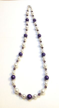 Purple glass pearl and glass crystal necklace